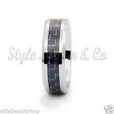Tungsten Carbide Ring Men's Wedding Band Carbon Fiber Inlaid Size 7-13