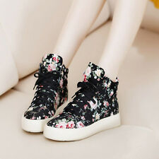 Women's High Top Sneaker Canvas Ankle Boots Flower Print Plimsolls Walking Shoes
