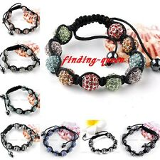 1x Punk Crystal Rhinestone Disco Ball Macrame Hip Hop Bracelet Woven Bangle Gift