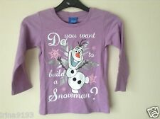 Next Frozen Olaf Girl`s Long Sleeve Top T-Shirt Purple Size 5,8yrs