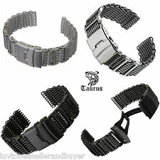 TAURUS SHARK WIRE MESH DIVERS WATCH STRAP BAND20mm 22mm 24mm FOR SEIKO & CITIZEN