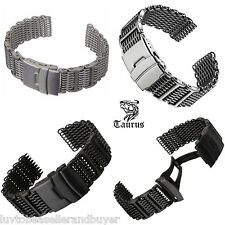 TAURUS SHARK MESH DIVERS WATCH STRAP BAND 20mm 22mm 24mm FOR SEIKO & CITIZEN
