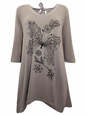 PLUS SIZE Ivans (INP) BUTTERFLY Print Stretch Jersey Tunic Top MOCHA 16 to 30/32