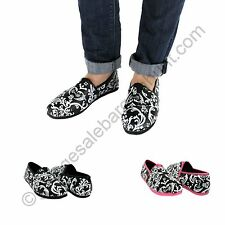 Ladies Damask Floral Slip On Flats Shoes *CLEARANCE*