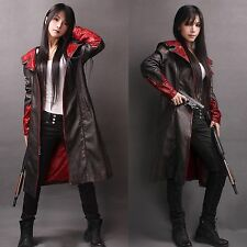 Devil May Cry DMC Trench Coat Pleather Jacket Dante Game Cosplay Costumes