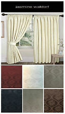 90 x 90 JACQUARD CURTAINS Pencil Pleat Fully Lined Curtain Pair with Tie Backs