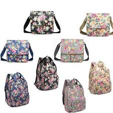 Ladies Oilcloth Cross Body Messenger School Satchel Flower Shoulder Hand Bag