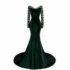 Sexy New Long V Neck Mermaid Evening Dresses Long Sleeve Formal Prom Ball Gowns