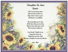 Daughter In Law Personalized Poem Gift For Birthday Mother's Day Christmas