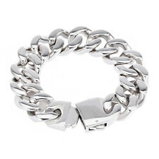 20MM Mens Chain Boys Silver 316L Stainless Steel Curb Link Bracelet 7-11inch HOT