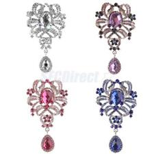 Woman Large Flower Brooch Rhinestone Crystal Diamante Wedding Bride Broach Pin
