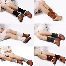 Lady's Fashion Crochet Knitted Lace Trim Boot Cuffs Toppers Leg Warmers Sock BD