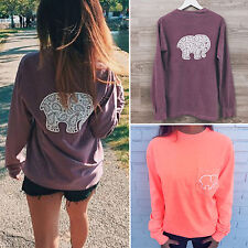 Sexy Womens Casual Elephant Print Sweatshirt Long Sleeve Pullover Jumper Tee Top
