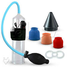 LeLuv Vibrating BETTER Vibrating B-Grip 3 Sleeve Penis Pump + Clear Ring & Cone