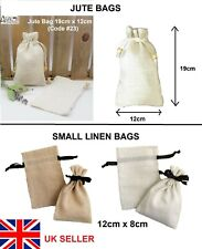Small Linen or Jute/Hessian Drawstring Bag Herb Bags Jewellery Pouch Gift Sack