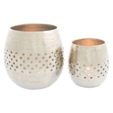 NEW Casa Uno Bubble Hammered Round Candle Holder (Set of 2) in Silver