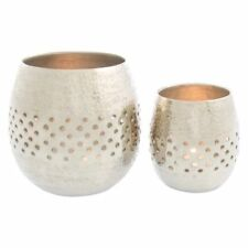 NEW Casa Uno Bubble Hammered Round Candle Holder (Set of 2) in Gold, Silver