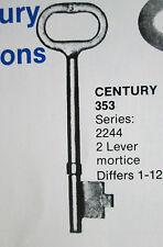 MORTICE KEYS TO FIT CENTURY 353 2 LEVER LOCKS  SERIES DIFFERS 1 -TO -12