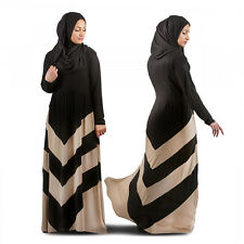 Muslim Black Stripe Kaftan Maxi Dress Islamic Long Sleeve Arab Jilbab Abaya
