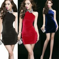 Womens Fashion Clubwear Bodycon Halter Neck Bead Decora Sexy Party Mini Dress