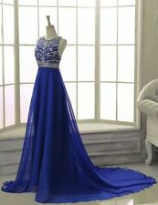 A line Long Chiffon Prom Dress Evening Formal Party Beading Ball Gown Sleeveless