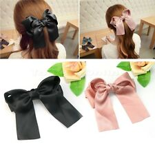 Korean Women Cute Large Satin Ribbon Bow Hair Clips Barrette Girl Accessory New