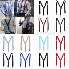 New Unisex Mens Womens Clip-on Suspenders Elastic Y-Shape Adjustable Braces