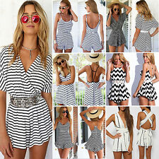 Sexy Celeb Strappy Backless Playsuit Stripe Summer Beach Jumpsuit Party Shorts