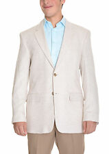Club Room Beige Natural Herringbone Two Button Linen Blend Blazer Sportcoat