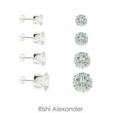 925 Sterling Silver 4 Cut Round Cubic Zirconia Clear CZ Stud Earrings