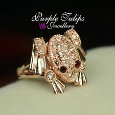 Cute Red Eyes Frog Ring W/Swarovski Crystals, 18CT Rose Gold Plated