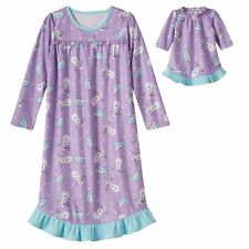 "NWT Girls Snowman Nightgown Matching 18"" Doll Gown Fits American Girl Dollie Me"