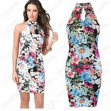 NEW LADIES FLORAL PRINT DRESS WOMENS SLEEVELESS RACER BACK BODYCON LOOK DRESSES