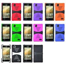 For ZTE Warp Elite N9518 Armor Hybrid Wave Impact Hard Soft Silicone Case Cover