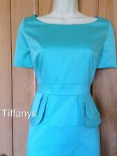KAREN MILLEN COTTON AQUA PEPLUM DRESS BNWT UK 8, 10, 12, 14, 16