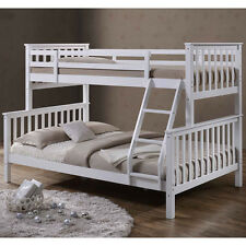 Solid White Wooden Triple 3 Sleeper Bunk Beds Single Double Size Kids Bedroom