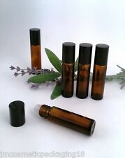 Refillable Rollette Roll On AMBER Glass Perfume Aromatherapy Bottles Black Lid