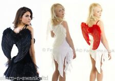 Ladies White Black Red Feather Angel Fairy Wings Fancy Dress Costume Outfit