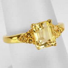 Natural Citrine 925 Sterling Silver ,Yellow Glod Plated Ring Size 7, 8, 9 (r375)