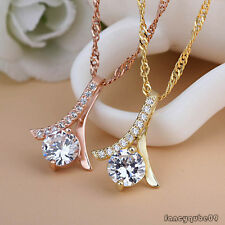 Fashion Womens Crystal Charm Pendant Chain Necklace Silver Plated Jewelry