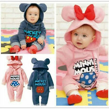 Newborn Baby Girls Boys Mickey Mouse Hoodie Jumpsuit Romper Warm Clothes Outfits