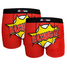 The Big Bang Theory Official Gift 2 Pk Mens Boxer Shorts BAZINGA!