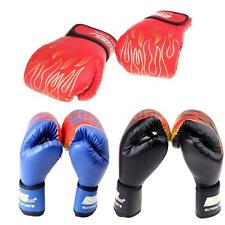 PU Leather MMA Flame Muay Thai Training Punching Sparring Boxing Gloves DD V5C1