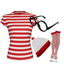 WOMEN'S GIRLS RED & WHITE STRIPED THEME PARTY T-SHIRT HAT GLASSES SOCKS