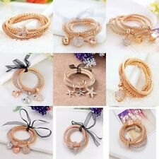 2016 New Bangles 3 Pcs Charm Elastic Rhinestone Crystal Bracelets Party Gifts