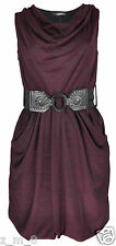 Womens Ladies Cowl Neck Knitted Midi Pocket Top Dress Belted Sleeveless