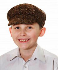New Kids Boys Brown Tudor Victorian Chimney Sweeper Flat Cap Hat