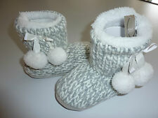 Gorgeous Little Girls Grey Knitted Slipper Boots NWT