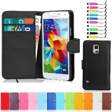 PU Leather Magnetic Flip Wallet Card Case Cover For Samsung Phone Free Stylus