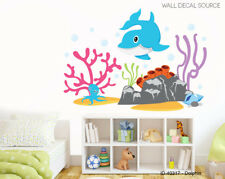 Dolphin, Octopus, Ocean and Coral Reef Vinyl Reusable Wall Decal